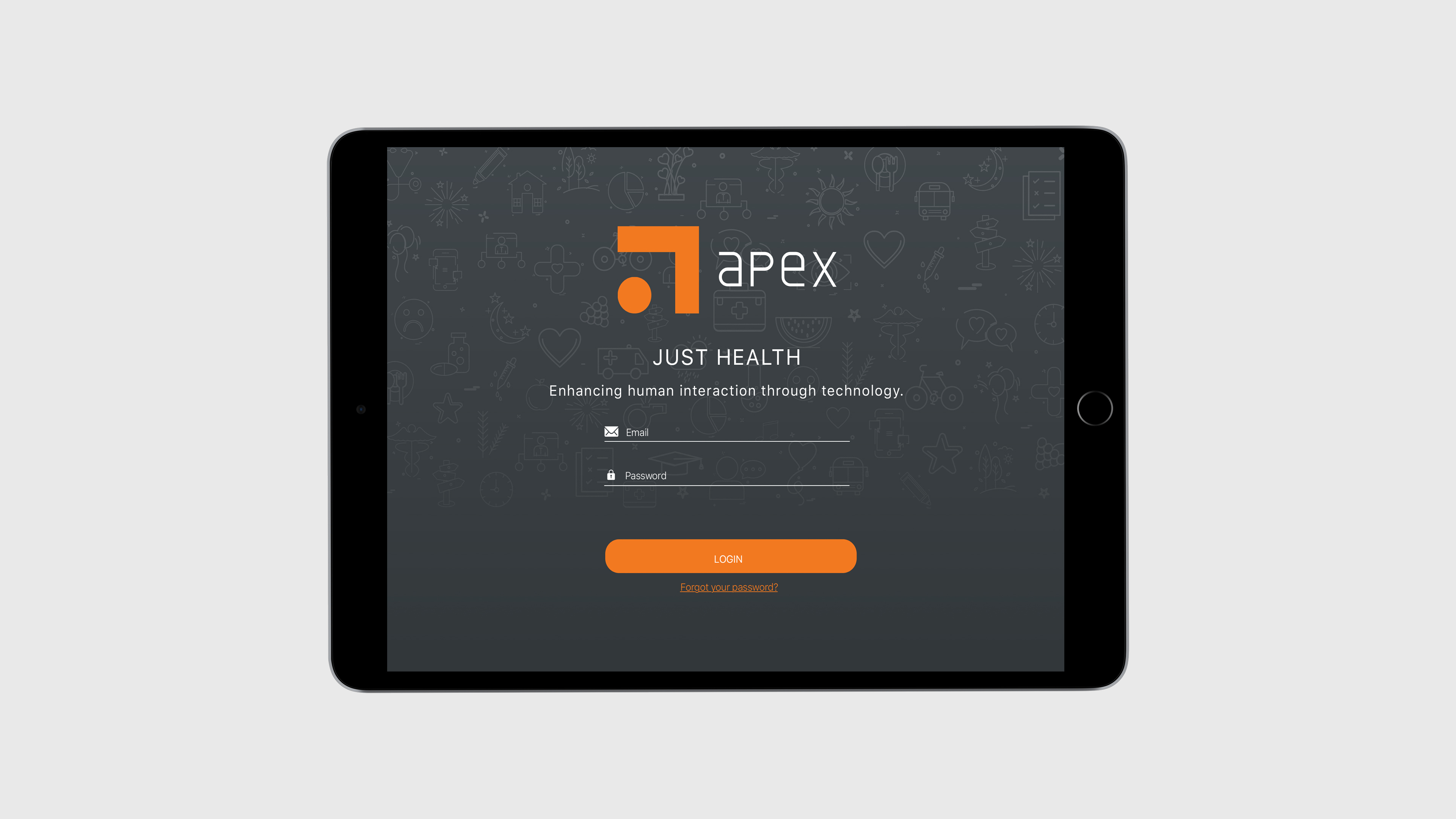 Apex login tablet mock